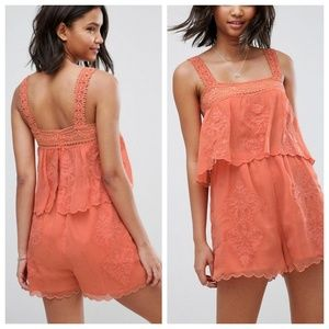 ASOS Coral Embroidered Double Layer Romper